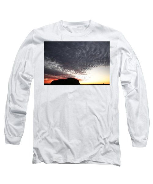 Silhouette Of Uluru At Sunset Long Sleeve T-Shirt
