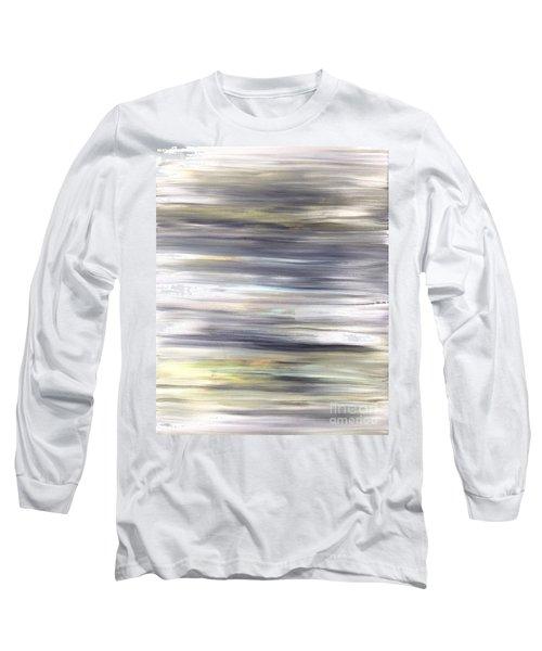 Silver Coast #26 Silver Teal Landscape Original Fine Art Acrylic On Canvas Long Sleeve T-Shirt