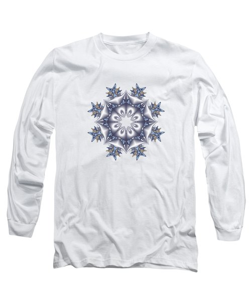 Silver Fractal Snowflake Long Sleeve T-Shirt