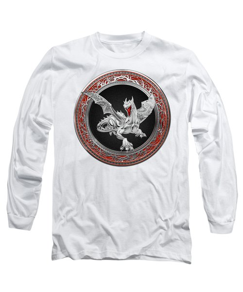 Silver Guardian Dragon Over White Leather Long Sleeve T-Shirt by Serge Averbukh