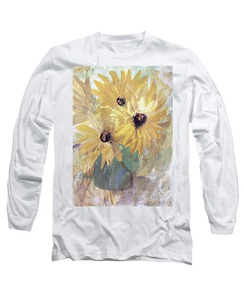 Long Sleeve T-Shirt featuring the painting Simply Sunflowers  by Robin Maria Pedrero