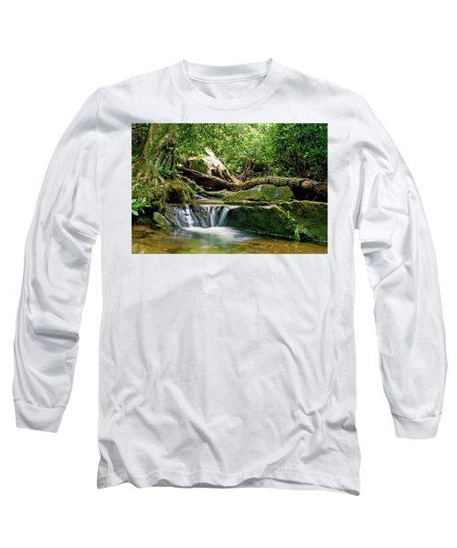 Long Sleeve T-Shirt featuring the photograph Sims Creek Waterfall by Meta Gatschenberger