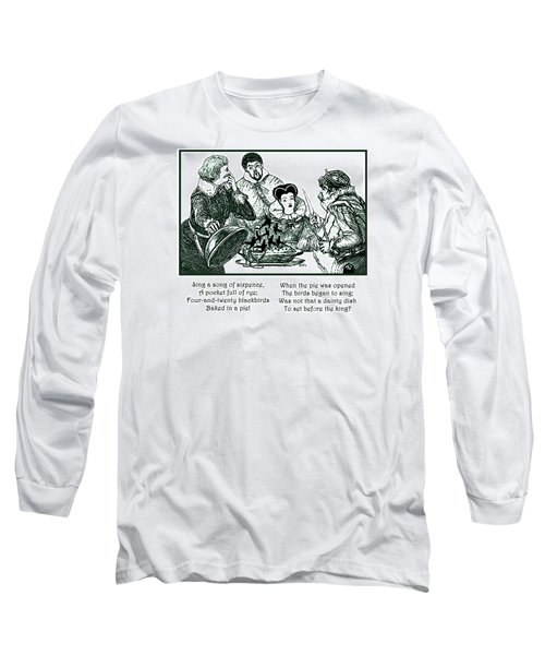 Long Sleeve T-Shirt featuring the painting Sing A Song Of Sixpence Nursery Rhyme by Marian Cates