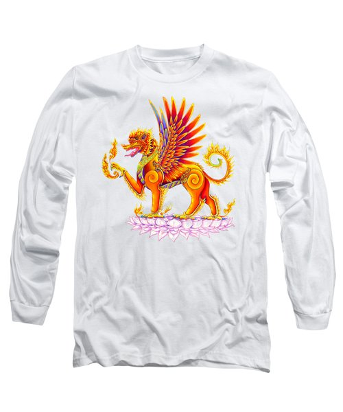 Singha Winged Lion Long Sleeve T-Shirt by Rebecca Wang