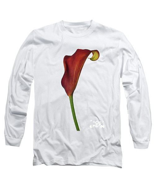 Single Rust Calla Lily Stem Long Sleeve T-Shirt