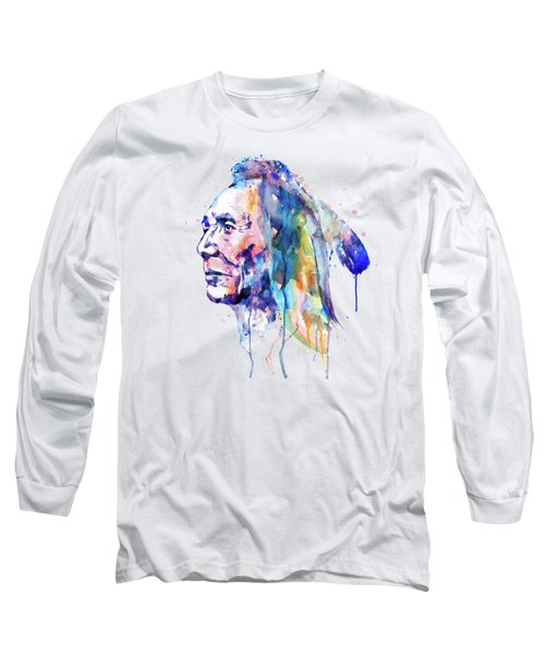 Sioux Warrior Watercolor Long Sleeve T-Shirt