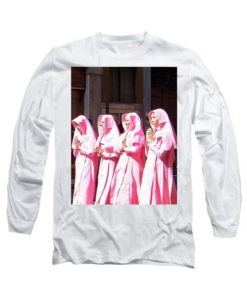 Sisters In Pink Long Sleeve T-Shirt by Susan Lafleur