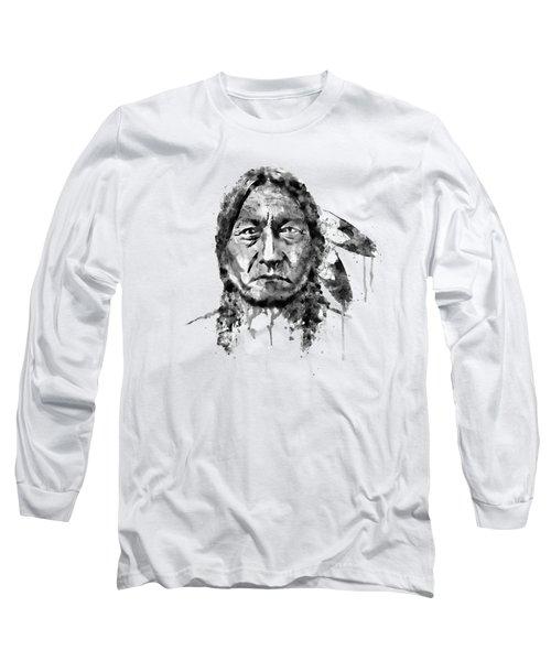 Sitting Bull Black And White Long Sleeve T-Shirt