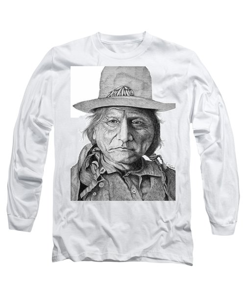 Sitting Bull Long Sleeve T-Shirt by Lawrence Tripoli