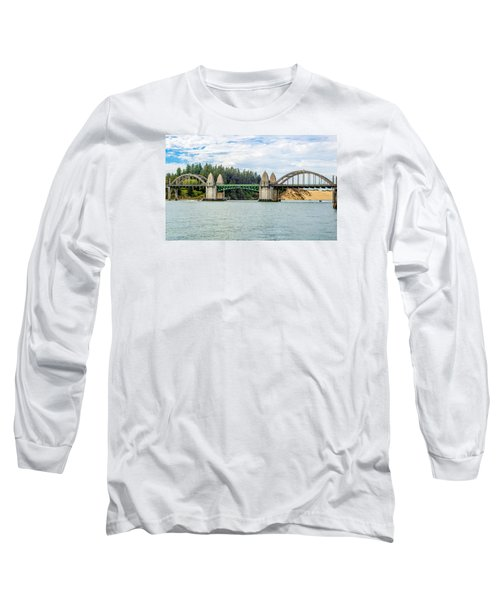 Long Sleeve T-Shirt featuring the tapestry - textile Siuslaw River Draw Bridge  by Dennis Bucklin