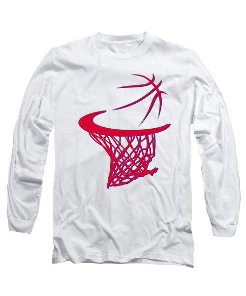 Sixers Basketball Hoop Long Sleeve T-Shirt by Joe Hamilton