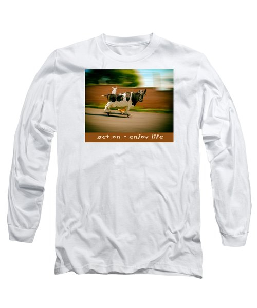 Skateboarding Cow And Pals Long Sleeve T-Shirt by James Bethanis
