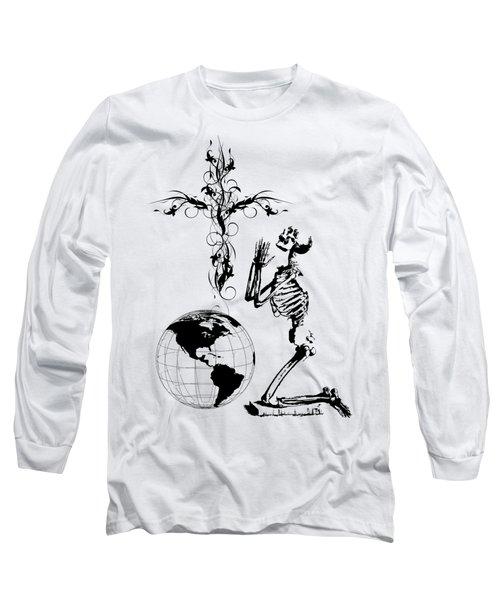 Skeleton Pryaing Cross Globe Long Sleeve T-Shirt