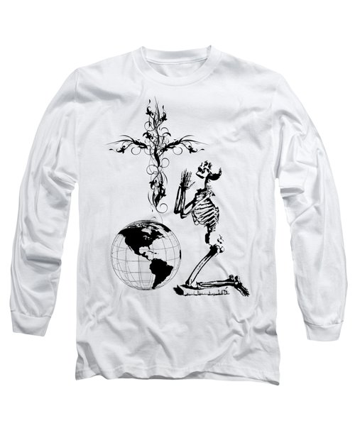 Skeleton Pryaing Cross Globe Long Sleeve T-Shirt