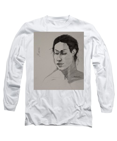 Long Sleeve T-Shirt featuring the drawing Sketch For Marie 2 by Ray Agius