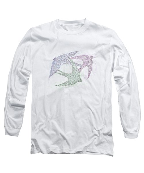 Sketch Of Swallow Birds Design In Motion Symbolism Of Freedom And Unity Long Sleeve T-Shirt