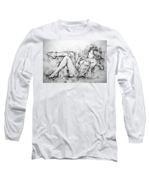 Sketchbook Page 46 Drawing Woman Classical Sitting Pose Long Sleeve T-Shirt