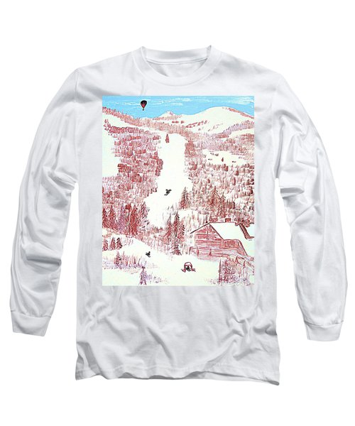 Long Sleeve T-Shirt featuring the painting Skiing Deer Valley Utah by Richard W Linford