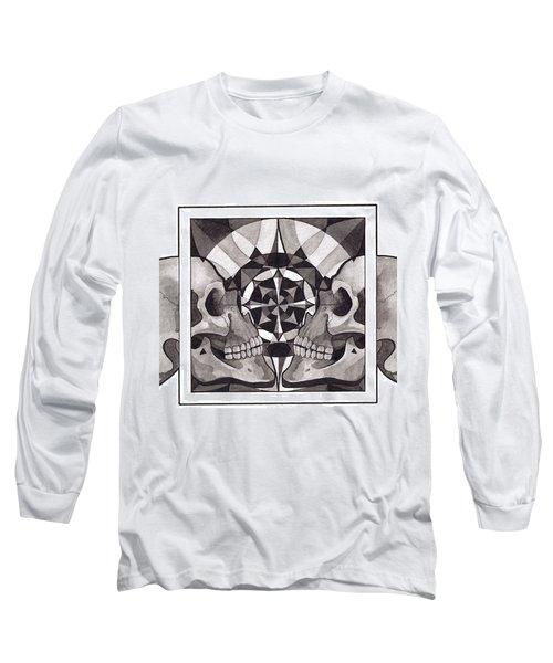 Skull Mandala Series Nr 1 Long Sleeve T-Shirt by Deadcharming Art