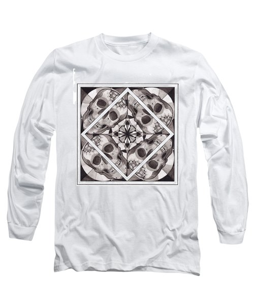 Skull Mandala Series Number Two Long Sleeve T-Shirt by Deadcharming Art