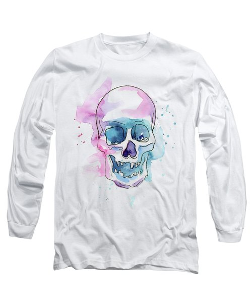 Skull Watercolor Abstract Long Sleeve T-Shirt