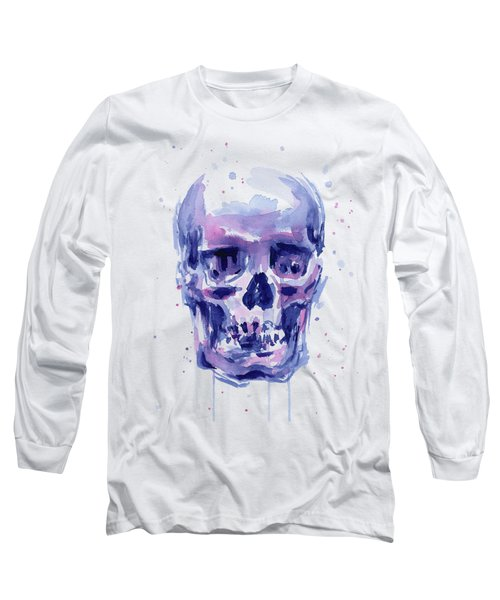 Skull Watercolor Long Sleeve T-Shirt