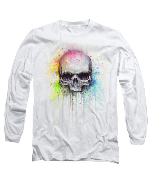 Skull Watercolor Painting Long Sleeve T-Shirt by Olga Shvartsur
