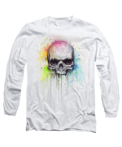 Skull Watercolor Painting Long Sleeve T-Shirt