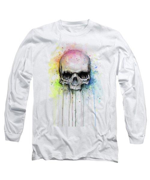 Skull Watercolor Rainbow Long Sleeve T-Shirt