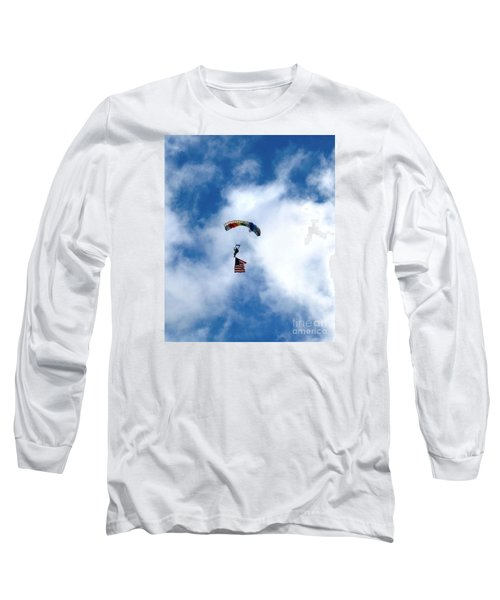 Skydiver With Flag Long Sleeve T-Shirt