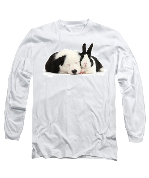 Sleeping In Black And White Long Sleeve T-Shirt