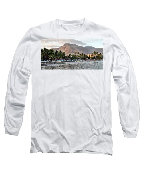 Sleepy Fishing Village Long Sleeve T-Shirt by Jim Walls PhotoArtist