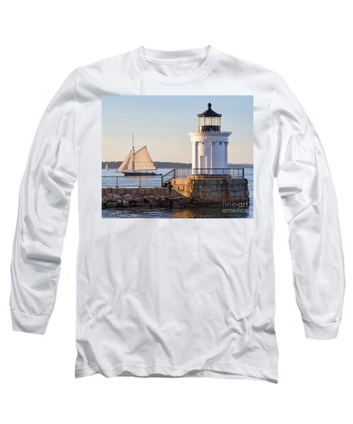Long Sleeve T-Shirt featuring the photograph Sloop And Lighthouse, South Portland, Maine  -56170 by John Bald