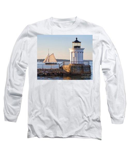 Sloop And Lighthouse, South Portland, Maine  -56170 Long Sleeve T-Shirt by John Bald