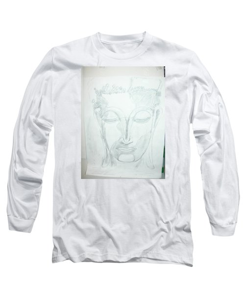 Long Sleeve T-Shirt featuring the drawing Slumbering Buddha by Sharyn Winters