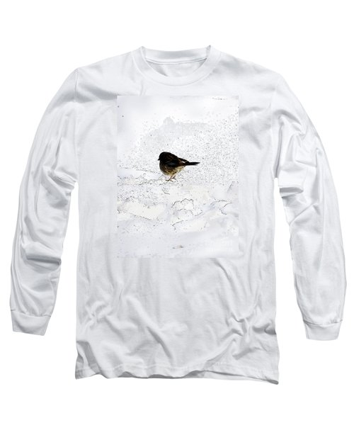 Small Bird On Snow Long Sleeve T-Shirt by Craig Walters