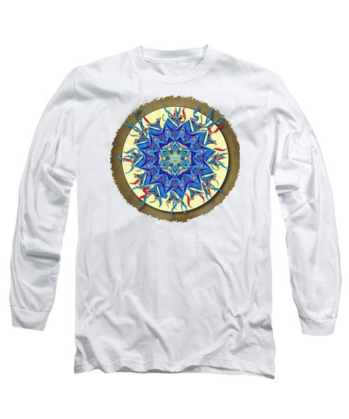 Smiling Blue Moon Mandala Long Sleeve T-Shirt by Deborah Smith
