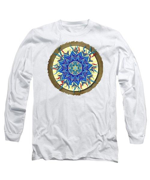 Smiling Blue Moon Mandala Long Sleeve T-Shirt