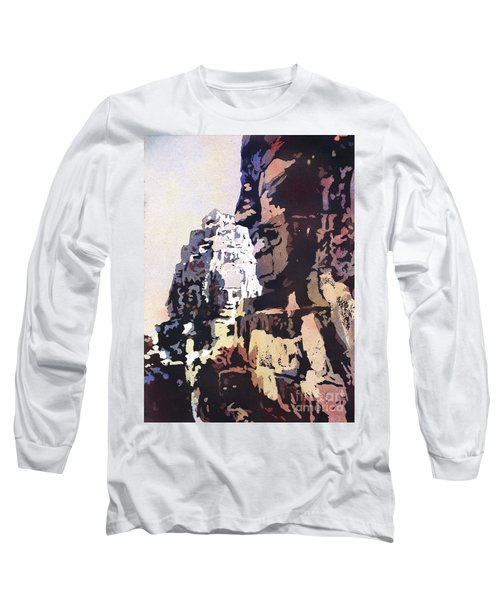 Long Sleeve T-Shirt featuring the painting Smiling Faces- Bayon Temple, Cambodia by Ryan Fox