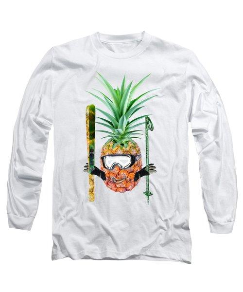 Smiling Pineapple-downhill Skier Long Sleeve T-Shirt by Elena Nikolaeva