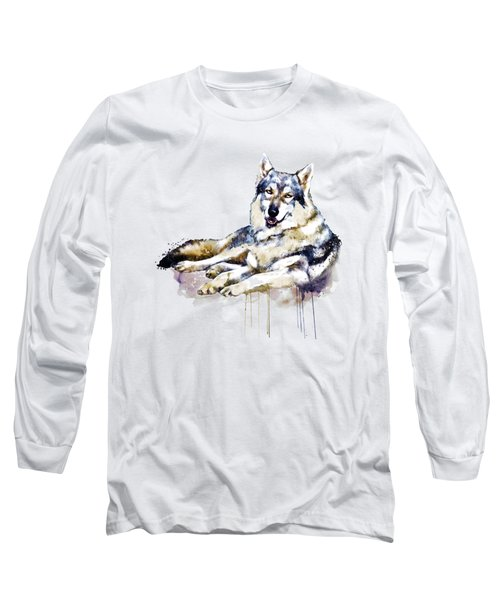 Smiling Wolf Long Sleeve T-Shirt by Marian Voicu