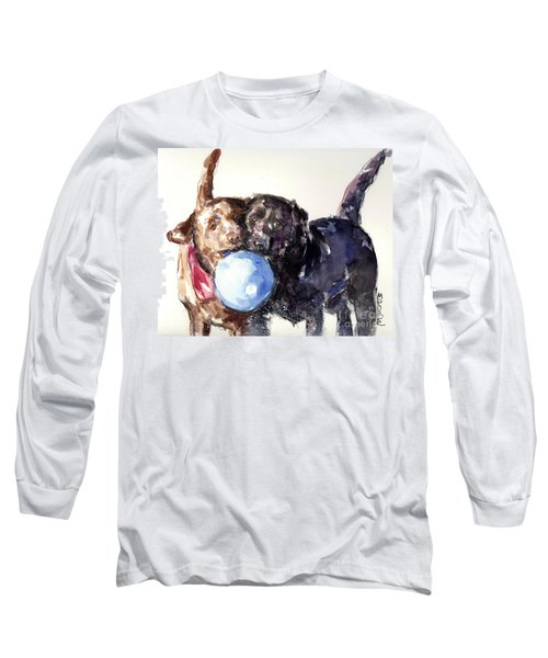 Long Sleeve T-Shirt featuring the painting Snow Ball by Molly Poole
