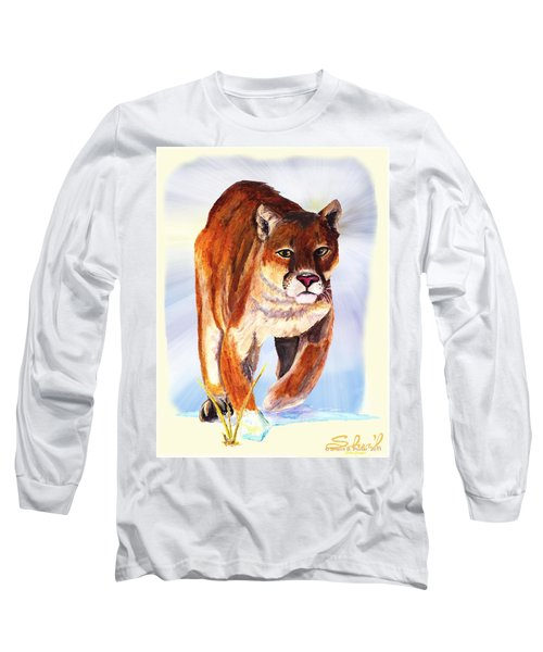Snow Cougar Long Sleeve T-Shirt by Sherril Porter