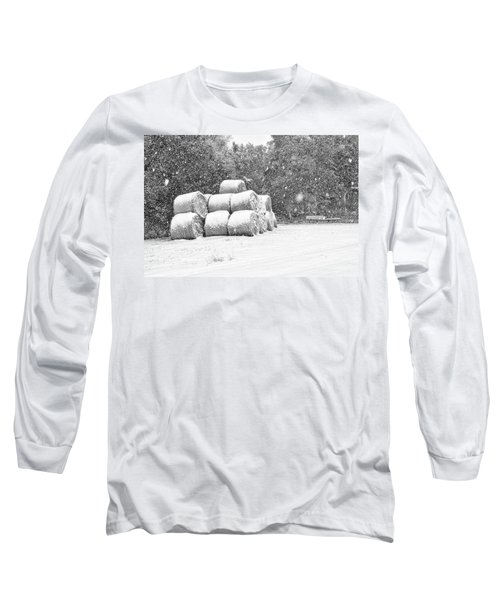 Snow Covered Hay Bales Long Sleeve T-Shirt