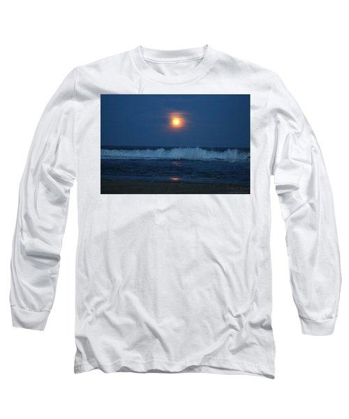 Snow Moon Ocean Waves Long Sleeve T-Shirt