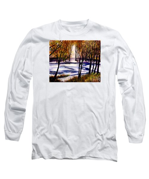 Snow On Lower Pasture Tonight Long Sleeve T-Shirt by Randy Sprout