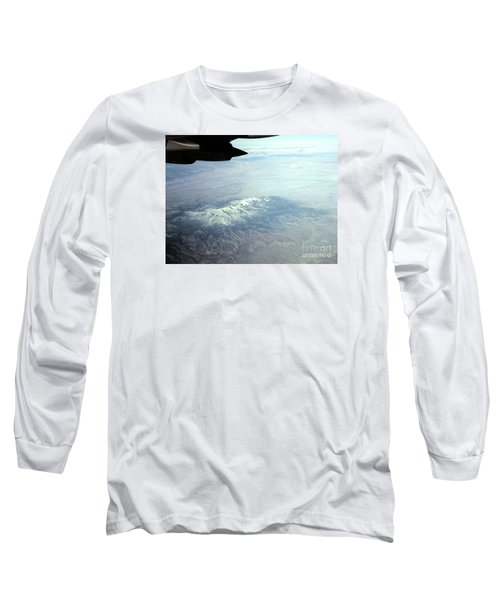 Snow On The Mountains Flying To Alaska Long Sleeve T-Shirt by Merton Allen