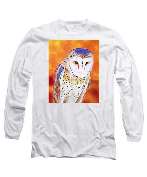 Long Sleeve T-Shirt featuring the digital art White Face Barn Owl by Tracie Kaska