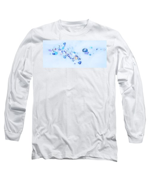 Long Sleeve T-Shirt featuring the photograph Snow Pebbles Abstract by Theresa Tahara