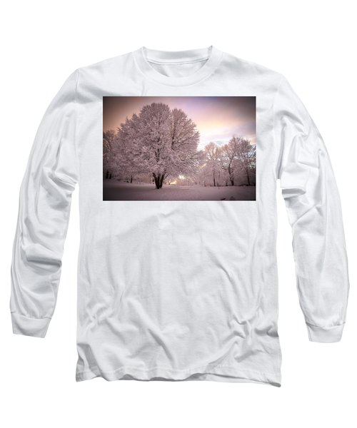 Snow Tree At Dusk Long Sleeve T-Shirt